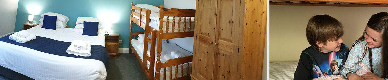 photo of family room and children on bunk beds