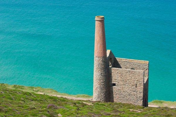Wheal Coates with blue sea