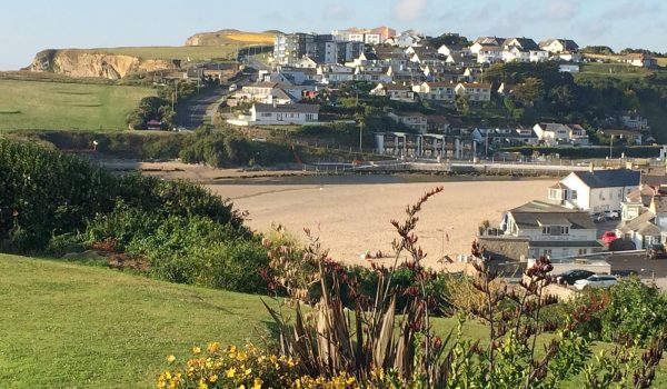View over Porth beach