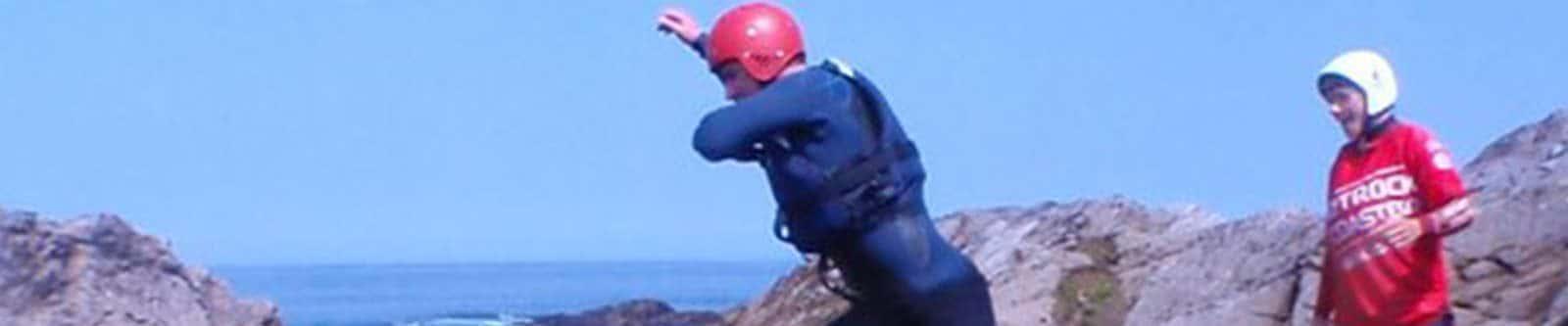 people coasteering