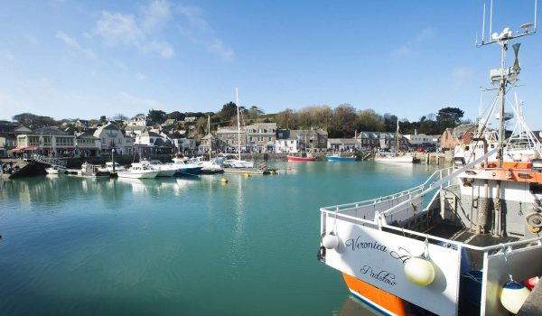 Orange boat in Padstow harbour