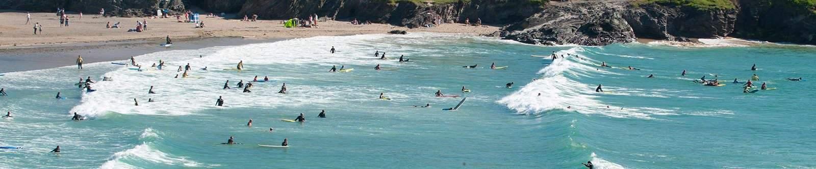 surfers at Polzeath