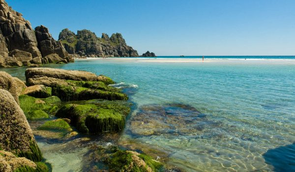 blue sea at Porthcurno