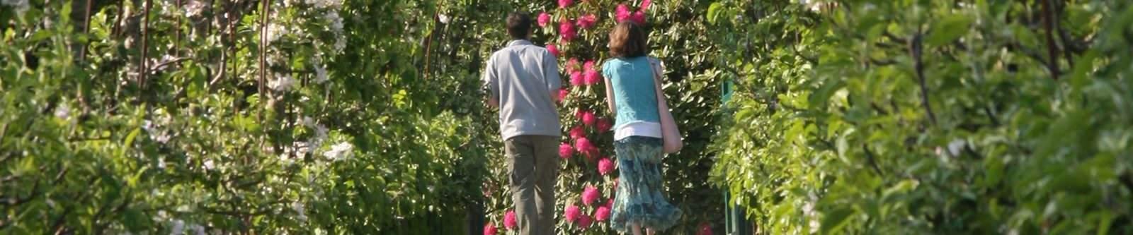 couple walking through apple arches
