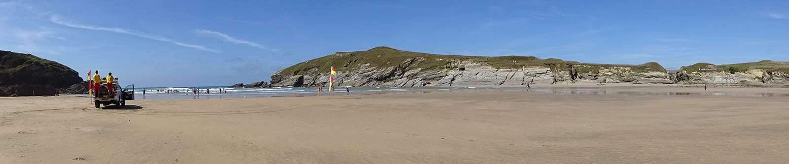 Porth beach with lifeguards