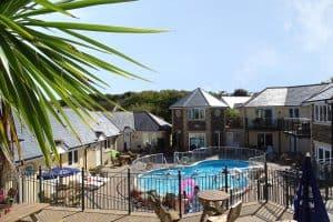 villas and pool at porth