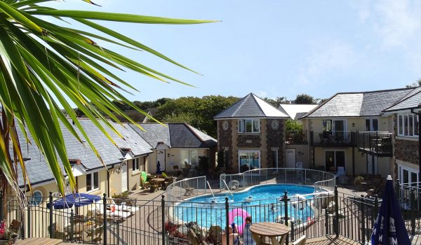 villas and pool at porth