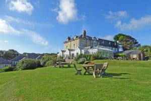 Exterior of Porth Veor Manor hotel and gardens