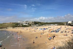 busy Porth beach