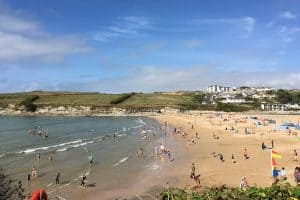 view of people on Porth beach in the summer