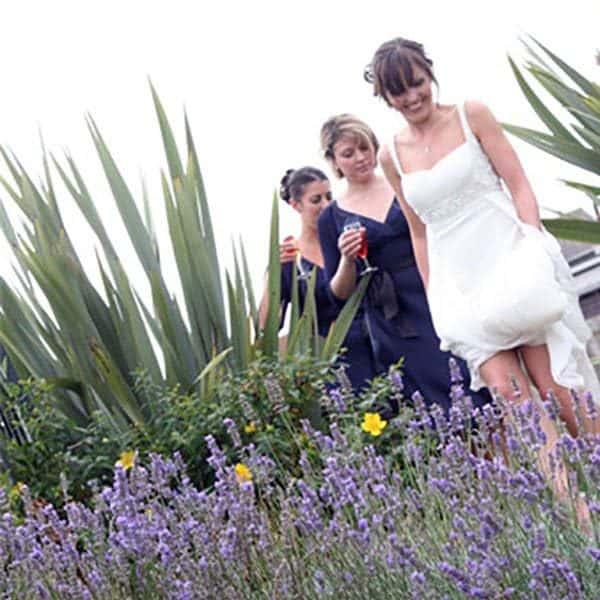 bride in Porth Veor gardens