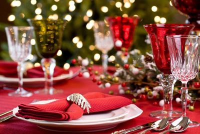 Table setting for Christmas lunch