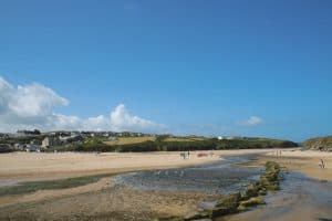 View of north side of Porth beach