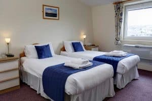 twin bedroom at Porth Veor Manor