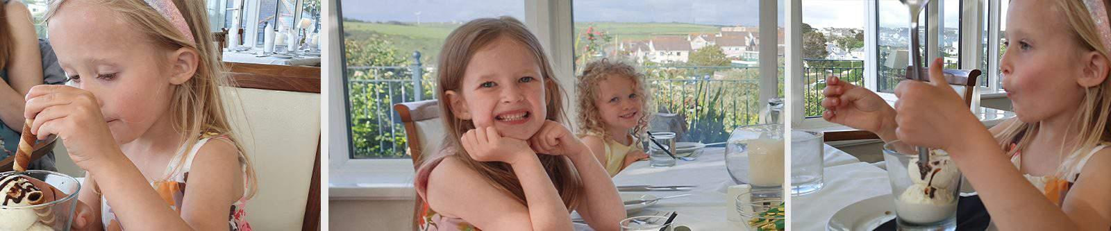 girls eating at Porth Veor Manor